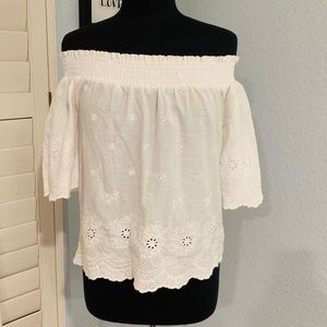 Active USA White Off the Shoulder Top